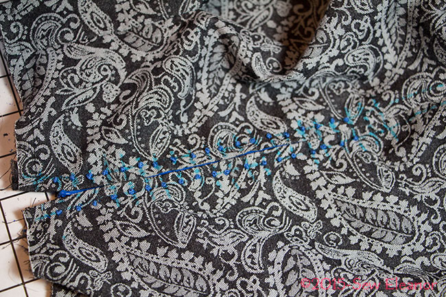 Completed French Knot Embellishment of Invisible Zipper