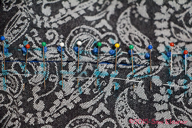 Marking The Second Row Of French Knots With Pins